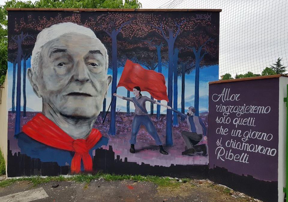 Un murales dello street artist DesX per il partigiano 'Pillo'